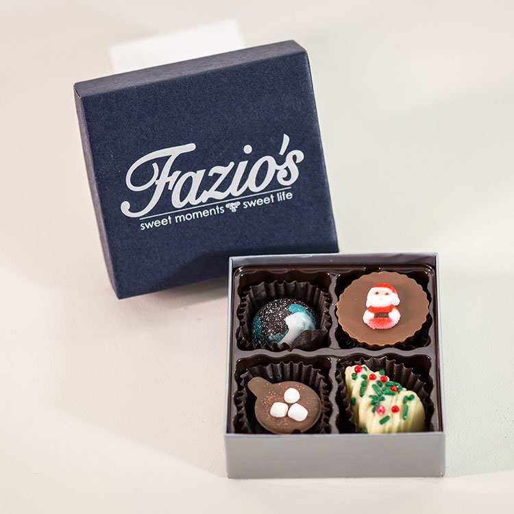 4 Piece Holiday Artisan chocolate assortment