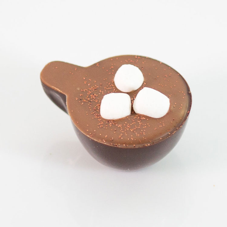 hot chocolate shaped chocolate piece